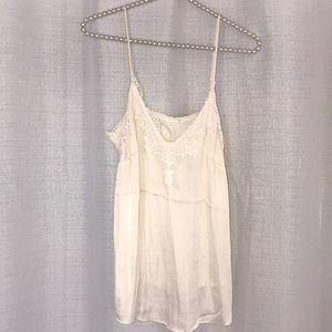 H&M Collection Satin Slip Ivory Lace Top